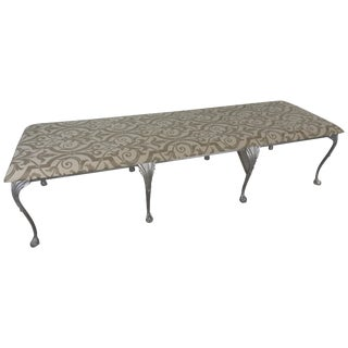 Vintage Mid Century Neoclassical Metal and Upholstered Bench For Sale