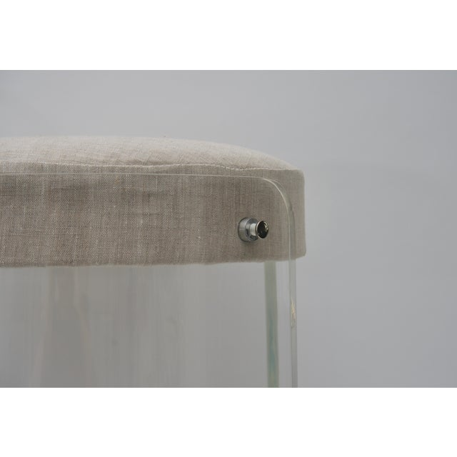 Round Lucite Vanity Chair by Charles Hollis Jones 1970s For Sale In West Palm - Image 6 of 9