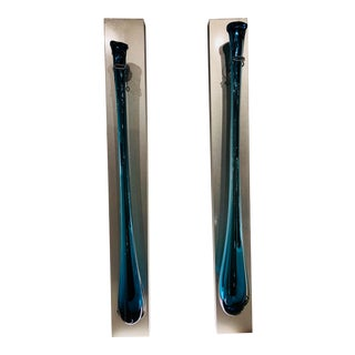 Sculptural Turquoise Murano Glass Vases on Handcrafted Hanging Wall Boxes - a Pair