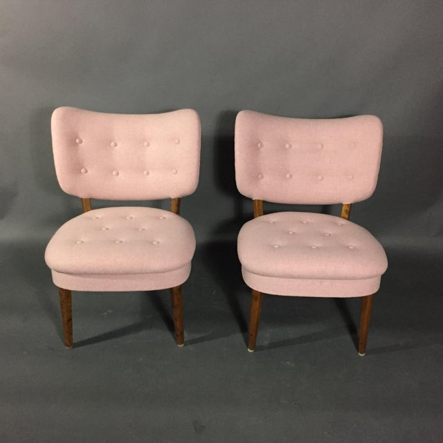 "Sweet and perfect pair of ""Emma"" style side chairs made in Sweden in 1940s with nicely executed button tufting to seat and..."