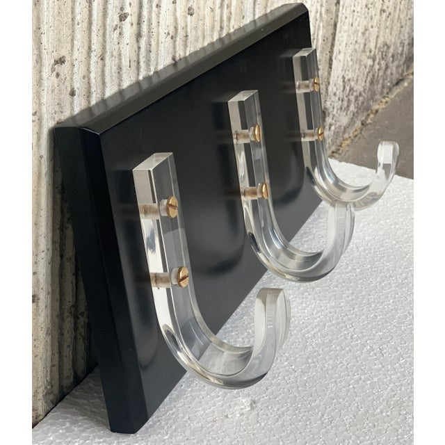 Mid-Century Modern Ebonized Coat Rack With Three Lucite Hangers, 1950, Italy For Sale In Miami - Image 6 of 11