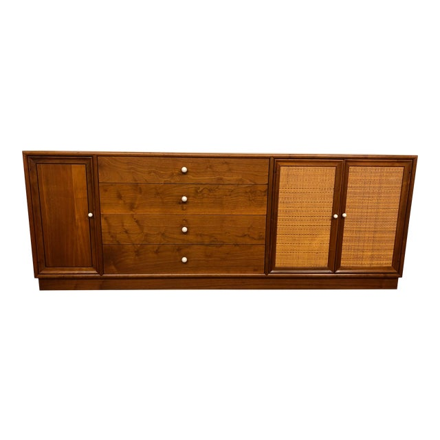 Drexel Declaration Walnut Sideboard With Cane Accents For Sale