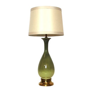 Mid-Century Modern Green Ombre Ceramic Lamp