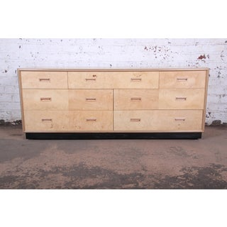 Milo Baughman Style Burl Wood Long Dresser or Credenza by Henredon Preview