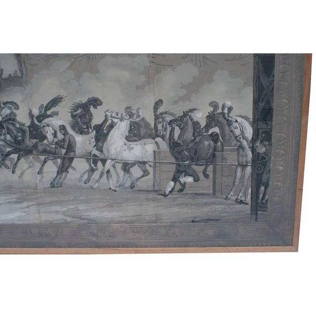 French Grisaille Panel Depicting Neapolitans Watching Horse Racing For Sale - Image 3 of 10