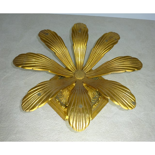 Cast Gilt Aluminum Sunflower Table with Glass Top For Sale In Los Angeles - Image 6 of 11