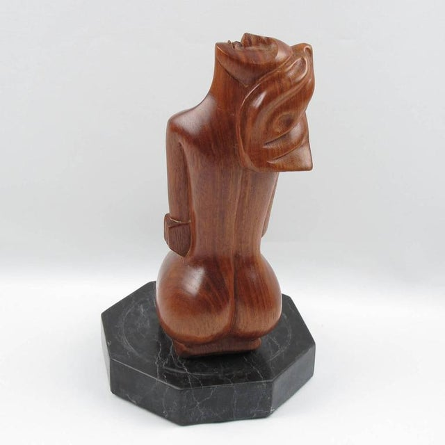 1950s Mid-Century Cubist Carved Mahogany Woman Sculpture For Sale - Image 5 of 11