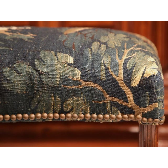 Late 19th Century French Louis XIII Carved Walnut Stool With Aubusson Tapestry - Image 4 of 9
