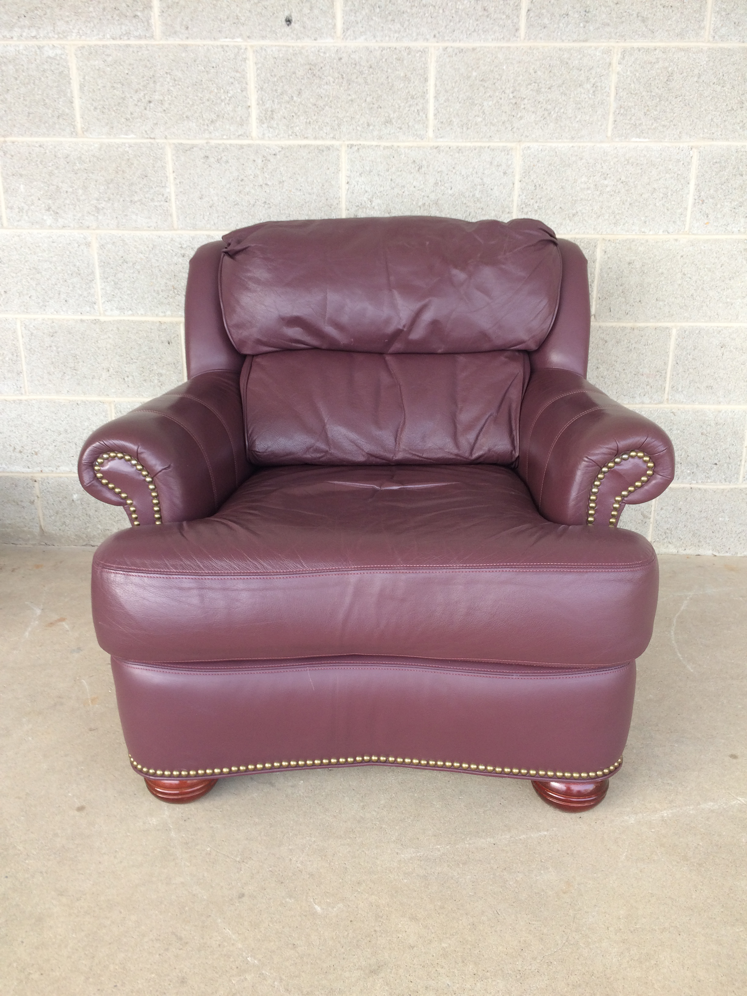 Pennsylvania House Pennsylvania House Leather Lounge Chair U0026 Ottoman For  Sale   Image 4 Of 11