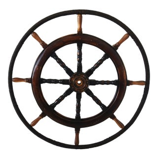 Large Vintage Nautical Maritime Ship's Steering Wheel For Sale