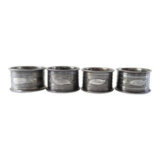 Antique Silverplate Napkin Rings Engraved Sheldon - Set of 4 For Sale