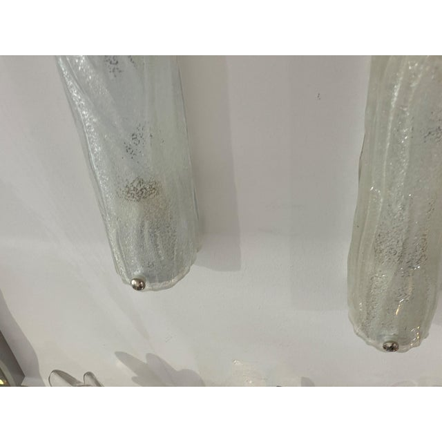 Vintage Modern Ice Glass Sconces - a Pair For Sale - Image 4 of 13