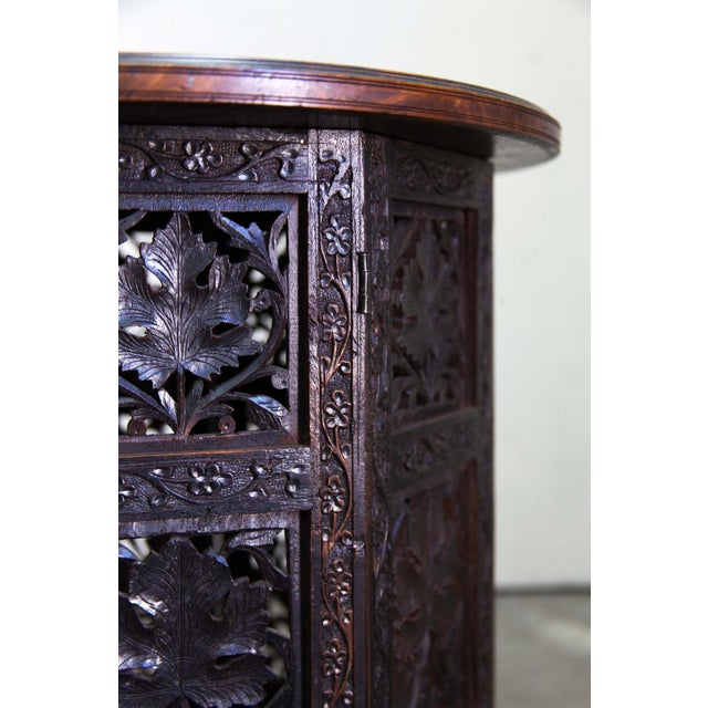 Antique Round Inlayed Table with Carvings - Image 5 of 6