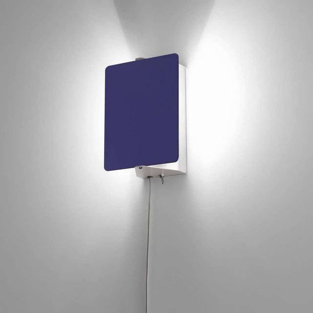Charlotte Perriand Blue 'Applique á Volet Pivotant' Wall Lights - a Pair For Sale - Image 11 of 12
