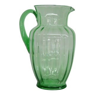 Vintage Green Uranium Glass Water Lemonade Juice Pitcher For Sale