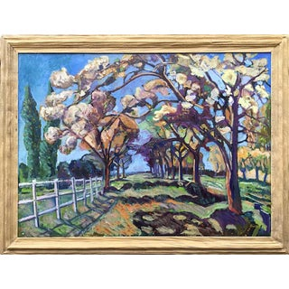 """Martha Holden Contemporary Large Oil Painting,"""" Horse Trail in France in the Springtime"""" For Sale"""