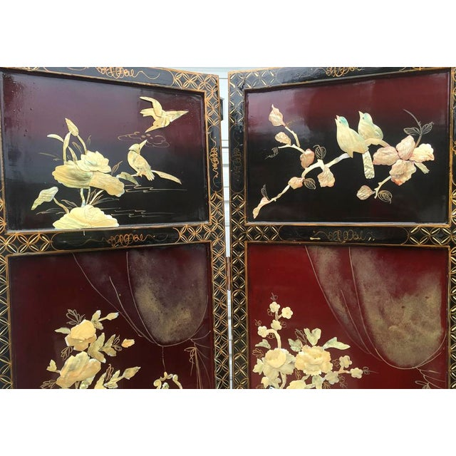 Asian Lacquered Mother of Pearl Screen For Sale - Image 5 of 8