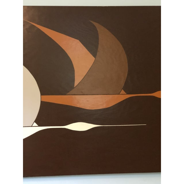 Mid 20th Century Large Midcentury Painting of Flying Geese For Sale - Image 5 of 11