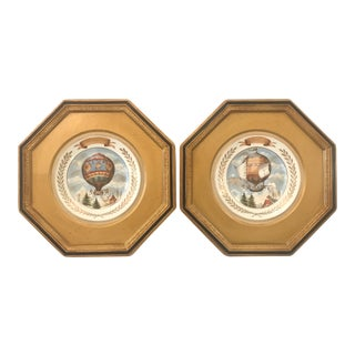 French 19th Century Framed Porcelain Plates of Hot Air Balloons - A Pair For Sale