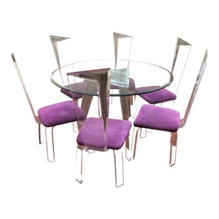 Vintage Mid Century Lucite Table Base & Chairs For Sale