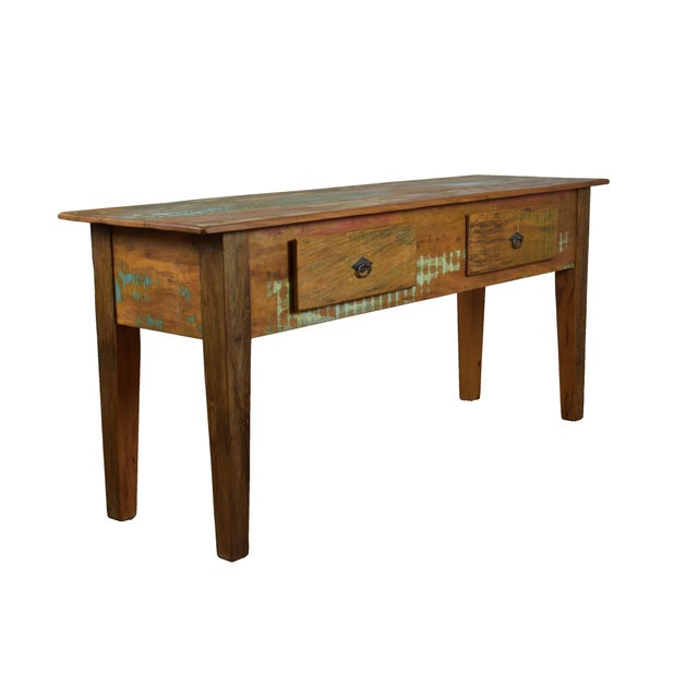 This vintage style solid wood console table seamlessly combines the warmth and character of beautifully aged wood to the...