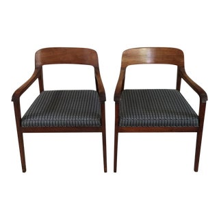 Mid Century Baker Furniture Walnut Occasional Chairs - a Pair For Sale