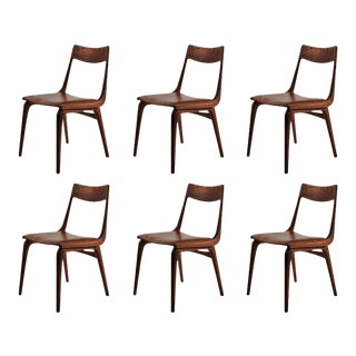 1950s Vintage Alfred Christensen Reupholstered Teak Boomerang Chairs - Set of 6 For Sale