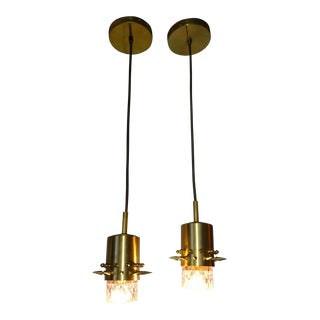 Brass Spikes and Blush Colored Glass Pendant Lights- A Pair