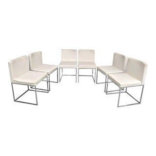 Calligaris, in the Style of Milo Baughman, Italian Made Chrome Side Chairs, Set of 6 For Sale