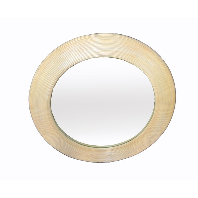 Mid-Century Modern Mid-Century Modern Round Handmade White Washed Pencil Reed Wall Mirror For Sale - Image 3 of 13