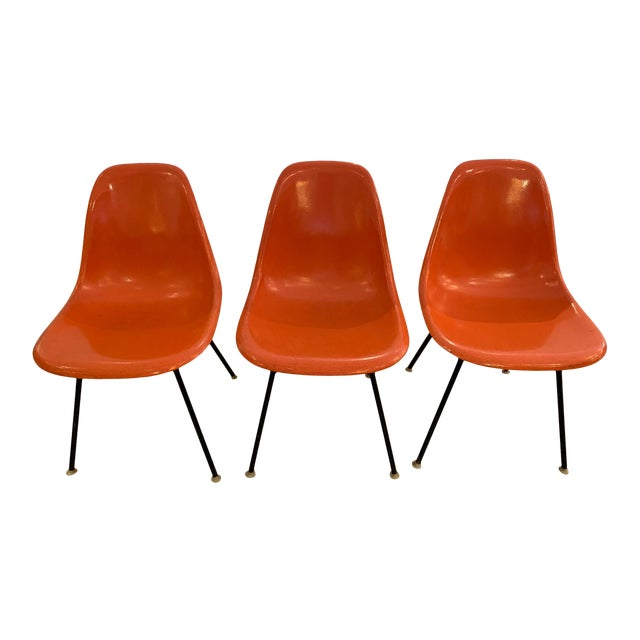 Set of 3 Bright Orange Mid Century Modern Shell Eames Chairs For Sale