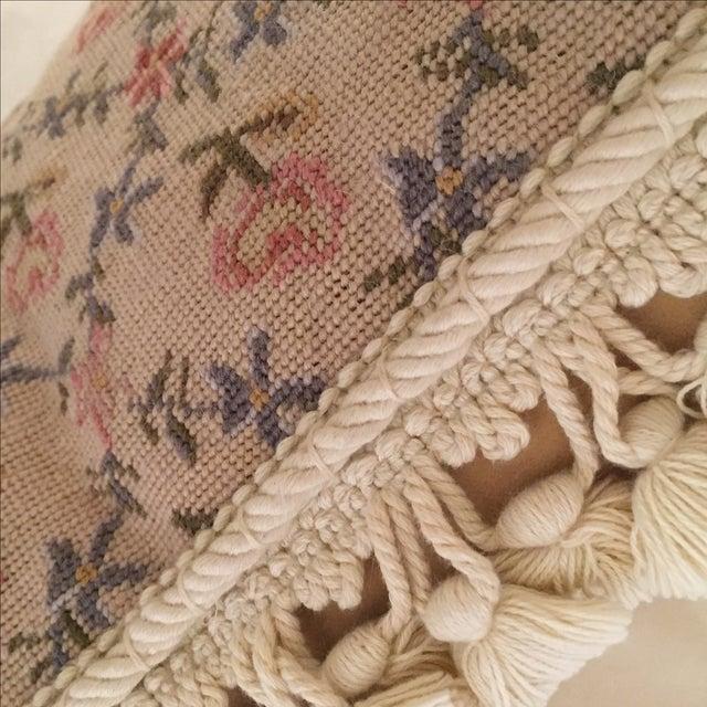 Needlepoint Pillow, Blue, Pink, Creme - Image 3 of 5
