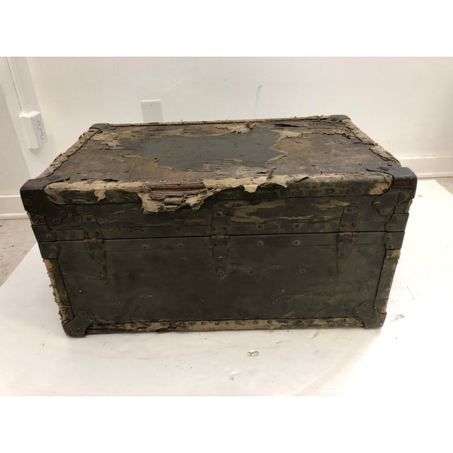 Vintage Industrial Green Military Foot Locker Trunk For Sale - Image 6 of 13
