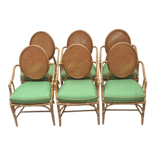 1970s Hollywood Regency McGuire Green-Upholstered Caned Dining Chairs - Set of 6 For Sale