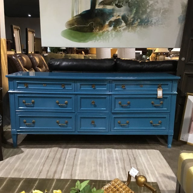 1960's Heritage Furniture nine drawer dresser or chest of drawers. Newly lacquered in Mediterranean Blue. Original...