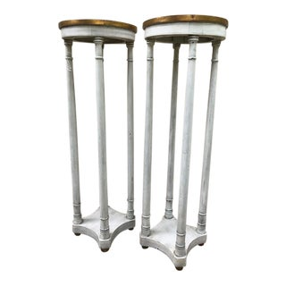 Hand Painted Wood With Gilt Accents Pedestals - a Pair For Sale