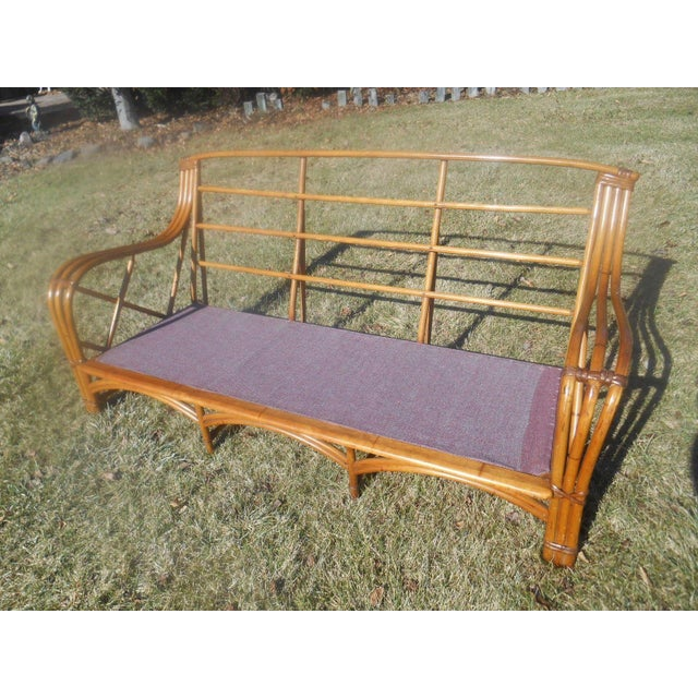 Vintage 1960's Heywood-Wakefield Rattan Sofa For Sale - Image 4 of 8