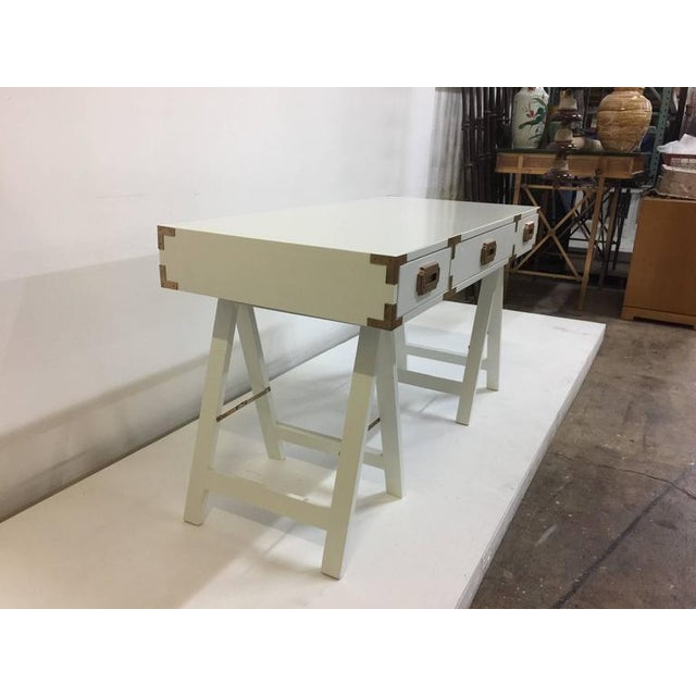 Vintage Campaign Desk with Original Patinated Brass Hardware For Sale - Image 4 of 7