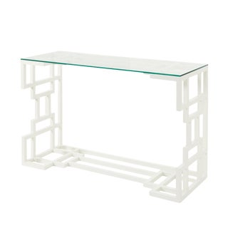 20th Century French Schumacher White Painted Wood Console Table For Sale