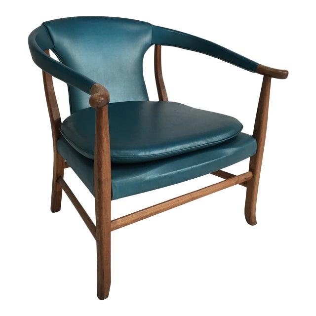 Mid-Century Walnut Ming Horseshoe-Style Slipper Armchair For Sale