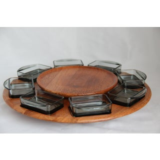 Vintage Danish Dismed Teak and Smoke Glass Lazy Susan - 9 Pieces Preview