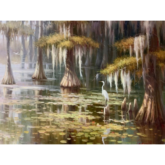 Green Louisiana Swamp Oil Painting For Sale - Image 8 of 8