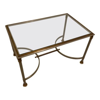 Mid-Century Modern Glass and Brass Coffee Table For Sale