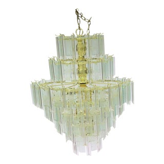 Large Murano Style Lucite and Etched Glass Chandelier For Sale