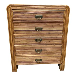 1970s Vintage Split Bamboo Chest of Drawers For Sale
