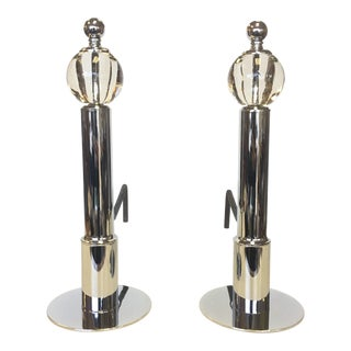 19th Century Art Deco Machine Age Chrome and Glass Andirons - a Pair For Sale