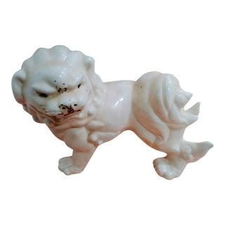 Ceramic Off White Chinoiserie Foo Dog Lion Figurine Statue For Sale