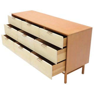 Two Tone Nine Drawer Cerused Oak Long Dresser Credenza by Mengel For Sale
