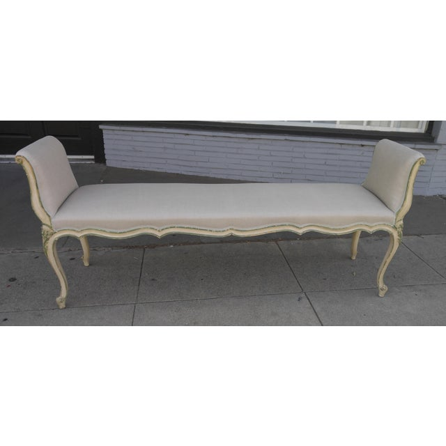 French Bench With Arms in a Hand Painted Antiqued Finish For Sale - Image 10 of 10