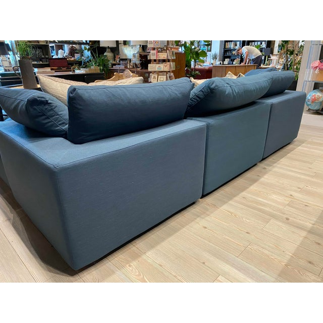 Overstuffed Blue Linen 4 Piece Sectional Sofa For Sale - Image 12 of 13